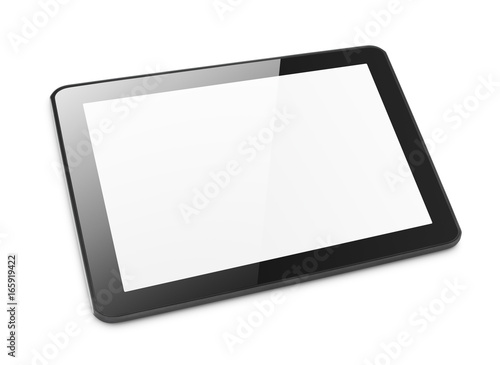 Leinwandbild Motiv Modern black tablet computer isolated on white background. Tablet pc and screen with clipping path