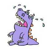 Cartoon sad purple croc. Vector illustration.
