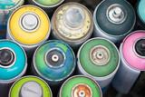 Graffiti Spray Cans Top View