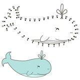 Connect the dots to draw a cute whale and color it. Educational numbers and coloring game for children. Vector illustration