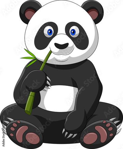 Fototapeta Cartoon panda eating bamboo