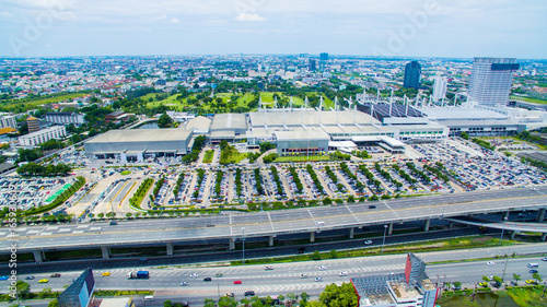 aerial view of convention hall in bangna road outskirt bangkok thailand