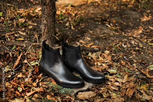 Black shiny leather women's chelsea boots on gray stone in a forest or park Poster