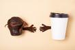 take away coffee and muffin