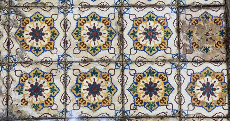 Colorful antique portuguese tiles (azulejos) in Cacilhas, Almada
