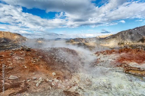 Thermal springs and mountains in Landmannalaugar valley in Iceland