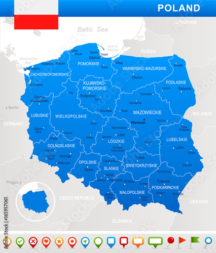 Obraz na płótnie Poland - map and flag illustration