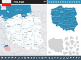 Poland - infographic map and flag illustration - 165957258