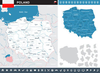 Poland - infographic map and flag illustration