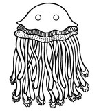 Coloring page with cartoon jellyfish