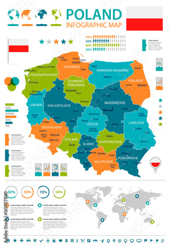 Poland - infographic map and flag - illustration