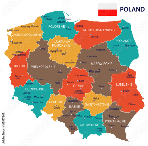 Obraz na płótnie Poland - map and flag – illustration
