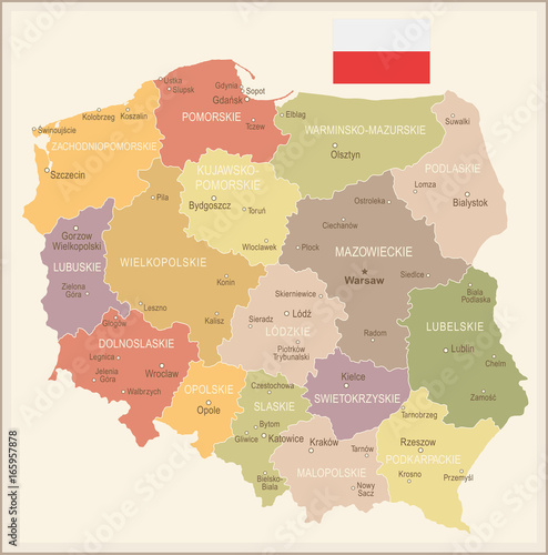 Obraz na płótnie Poland - vintage map and flag - illustration