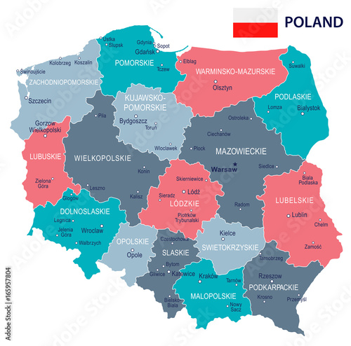 Poland - map and flag illustration Poster