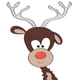 Funny Cartoon Deer head illustration