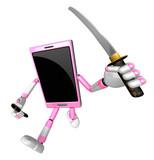 3d Smart Phone Mascot Flourish A Sword 3d Mobile Phone Character Design Series Wall Sticker