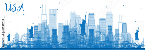 Outline USA Skyline with Blue Skyscrapers and Landmarks. - 165981215