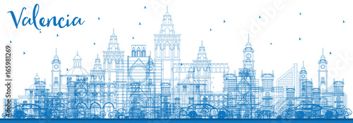 Outline Valencia Skyline with Blue Buildings.