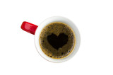 Cup Of Coffee And Heart Shape On Whier Background.
