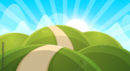Cartoon landscape illustration. Sun. cloud hill vector EPS 10