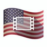Isolated  USA flag with a film photogram
