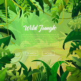 Fototapety Jungle Banner Tropical Leaves Background. Palm Trees Poster. Vector illustration