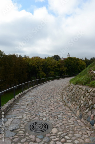 Serpentine road to the mountain of Gediminas in Vilnius.