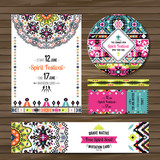 Collection of banners, flyers or invitations with geometric elements. Flyer design in bohemian style - 165996485