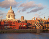 London, Saint Pauls dome and millenium bridge