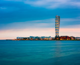 Skyline of Malmo Sweden with Famous Turning Torso Building, captured around sunset - 166006487