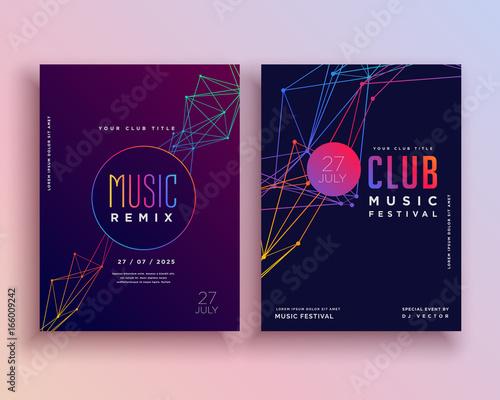 Fotobehang Muziek club music party flyer template design