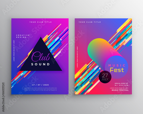 abstract vibrant music party club flyer template design set