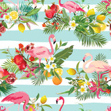 Tropical Fruits, Flowers and Flamingo Birds Seamless Background. Retro Summer Pattern in Vector - 166010060
