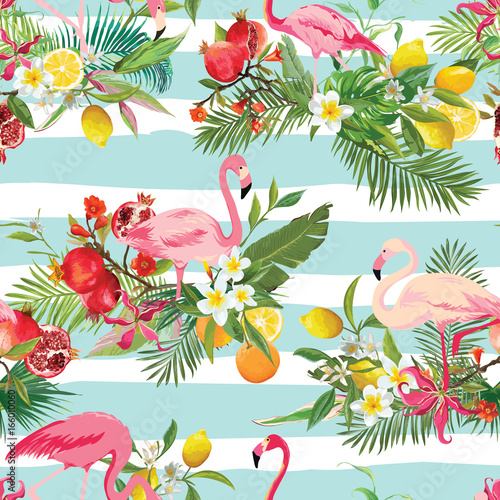 Tropical Fruits, Flowers and Flamingo Birds Seamless Background. Retro Summer Pattern in Vector