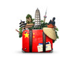 China, vintage suitcase with China flag and landmarks