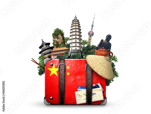 Fotobehang Peking China, vintage suitcase with China flag and landmarks