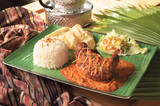 Traditional Indian food curry chicken rice with papadum
