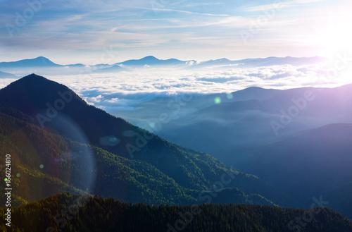 Fotobehang Blauwe jeans Carpathian Mountains in the morning.