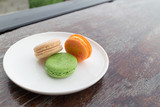 fresh macaroons in outdoor bakery house cafe - 166026296