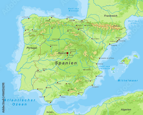 Spanien - Landkarte mit Höhenschichten