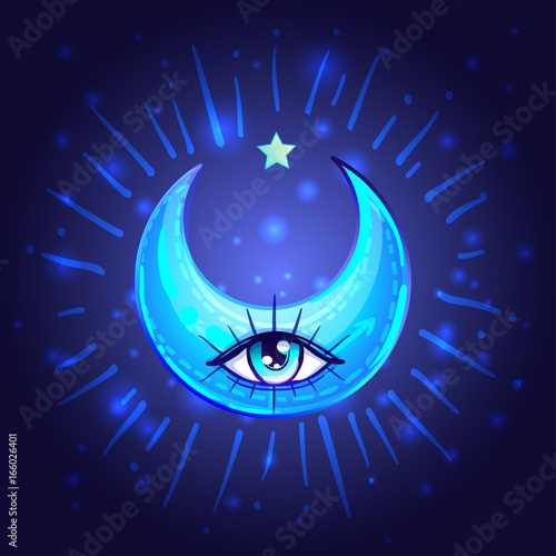 Mystic Crescent Moon with one eye in anime or manga style. Hand-drawn vector illustration over deep background. Trendy magic print, alchemy, religion, spirituality, occultism. - 166026401