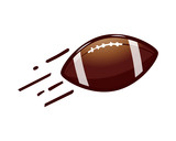 throw an american football ball with motion lines illustration,  isolated on white background.