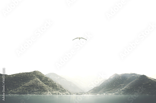 minimal natural mountain background - 166033095