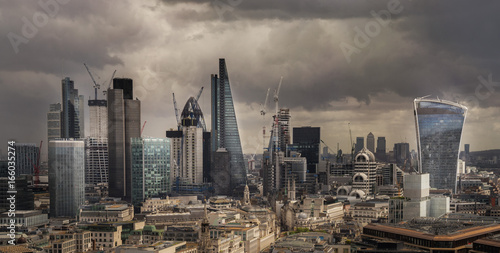 London city Fincial area view frombtop of St Paul's cathedral Poster