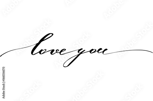 Love you. Handwritten black on white background, vector.