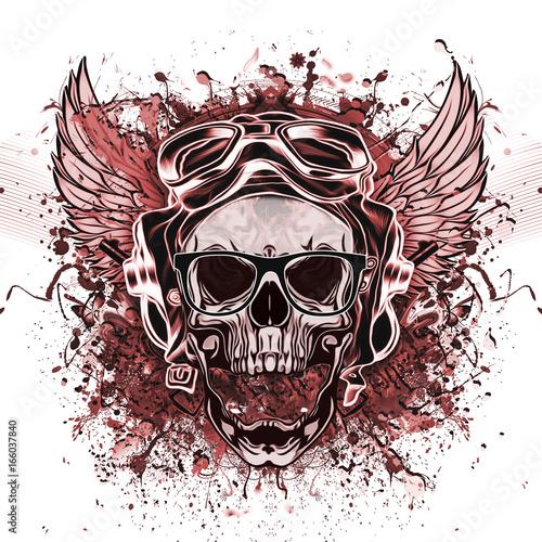 Aluminium Reznik Рисованный симметричный череп с гранжевым рисунком