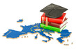 Education in Europe concept, 3D rendering