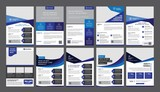 a bundle of 10 templates of a4 flyer template, modern template, in blue color, and modern design, perfect for creative professional business - 166053809