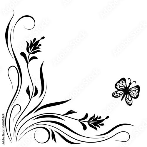 Decorative floral corner ornament