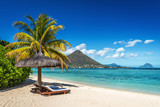 Loungers and umbrella on tropical beach in Mauritius - 166065656